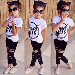 USA Cute Toddler Kids Girls T-shirt Tops Pants Leggings 2Pcs