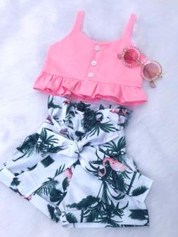 USA Flamingo Toddler Baby Girl Vest Crop Tops Short Pants Ou
