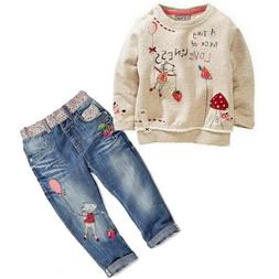 USA Kids Baby Girls Clothing Tops Sweater + Jeans Trousers s