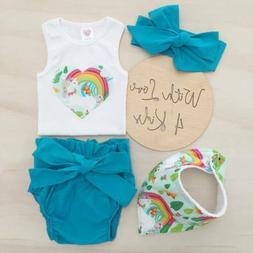USA Newborn Baby Boys Girls Outfits Clothes Romper Bodysuit+