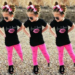 USA Toddler Kids Girls Short Sleeve Tops T-shirt +Long Pants
