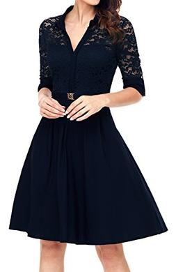 vintage causal dresses navy belted