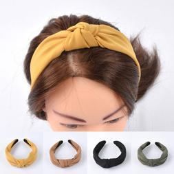 Women Girls Hair Band Sweet Bow Knot Wide Cloth Headband Dec