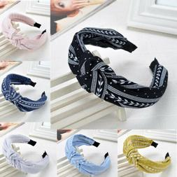 Women Girls Sweet Cloth Bowknot Wide Hairband Headband Hair