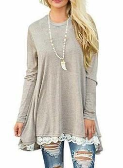 Sanifer Women Lace Long Sleeve Tunic Top Blouse Small B-khak