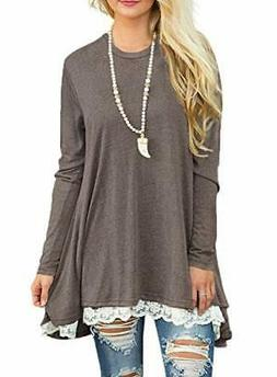 Sanifer Women Lace Long Sleeve Tunic Top Blouse Small Coffee