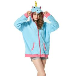 Women Unicorn Hoodie Fashion Cartoon Sweatshirt Women Cardig