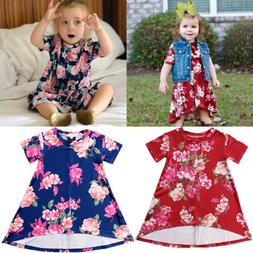 ZX Toddler Girls Clothing Princess Floral Short Sleeve Dress
